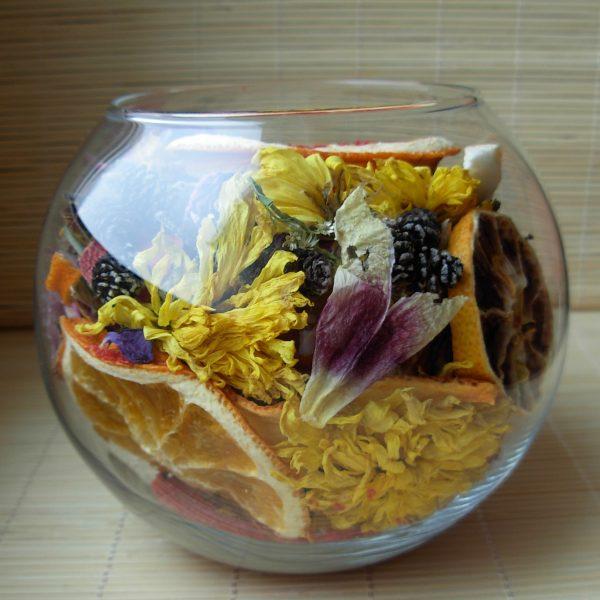 Декоративная ваза из натуральных соцветий и фруктов и Ароматом Khator