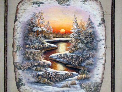 Темперная живопись на бересте. Автор Сурин С.И.