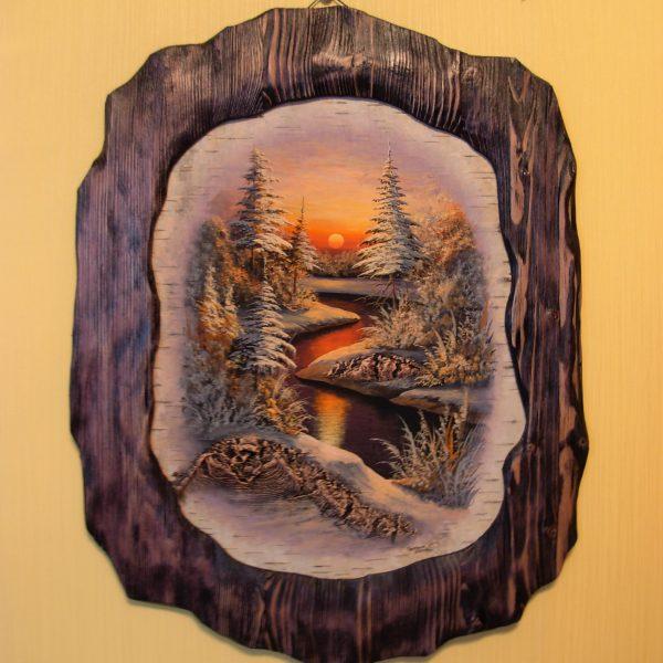 Картина на бересте «ЗИМНЕЕ УТРО» автор Сурин С.И. Khator